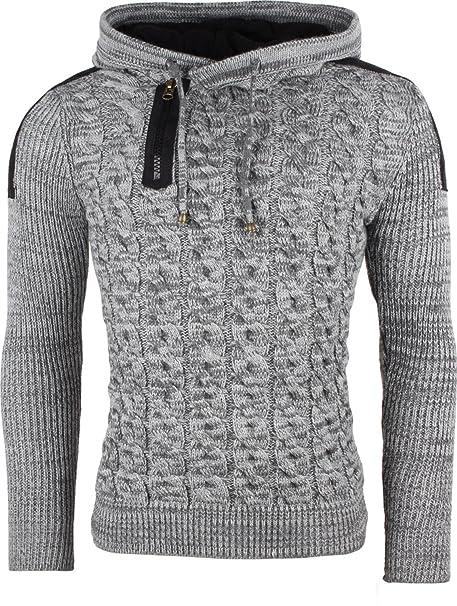 b43e594f1541ad Tazzio Herren Pullover 130722 Grau Schwarz,GRÖSSE XL: Amazon.de ...