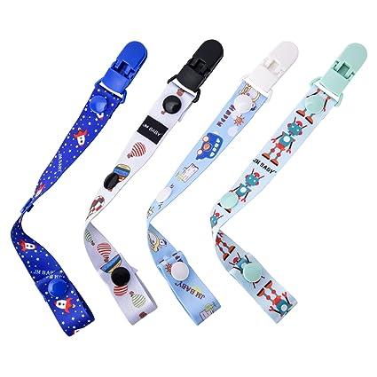 Clip de Chupete Cadena para Chupete del Bebé Pinza de Chupetes Personalizados – 4 Paquete - Safe&Care Chupete Cadena con Dos Lados Lindos con ...