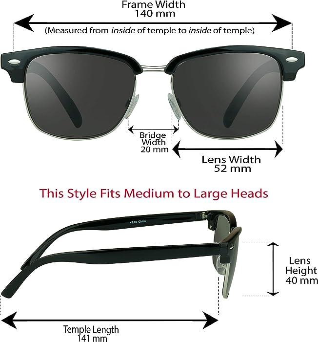 fdba4c3c1e287 proSPORT Classic Reading Sunglasses with Round Horn Rimmed Plastic Frame  for Men   Women - Not Bifocal