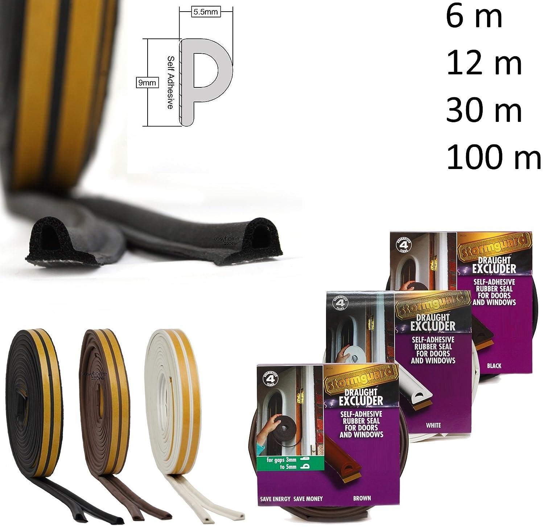12m x 9mm x 5mm Marron espaces 3-5mm EPDM P Caoutchouc adh/ésif Joint porte et fen/être
