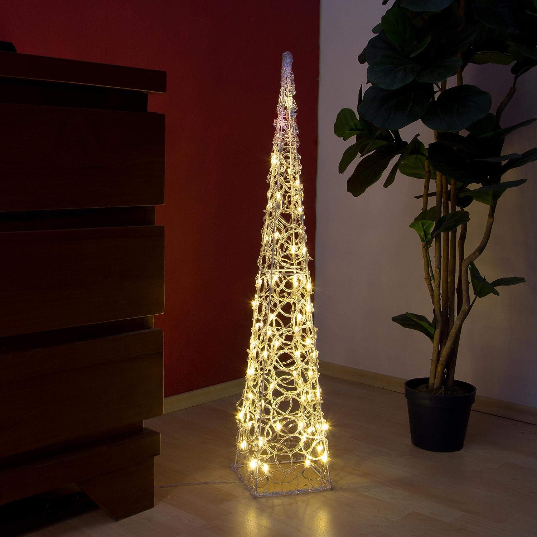 LED Pyramide Acryl Deko 90 LEDs warmweiß Außen 90 cm Outdoor IP44 Beleuchtung