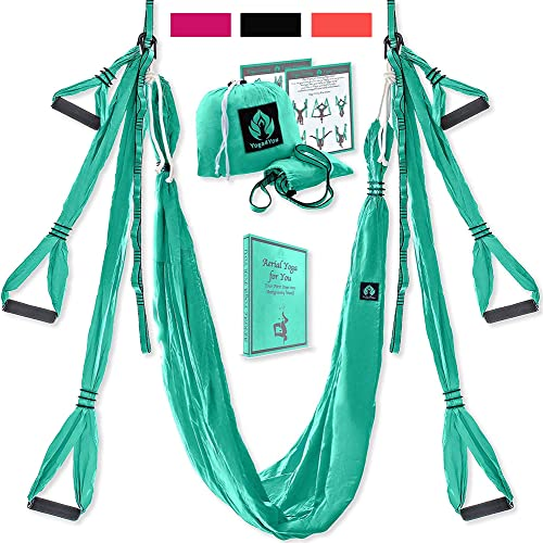 Yoga4You Aerial Yoga Swing Set – Yoga Hammock Swing – Trapeze Yoga Kit – 2 Extension Straps – Wide Flying Yoga Inversion Tool – Antigravity Ceiling Hanging Yoga Sling – Adult Kids Arial