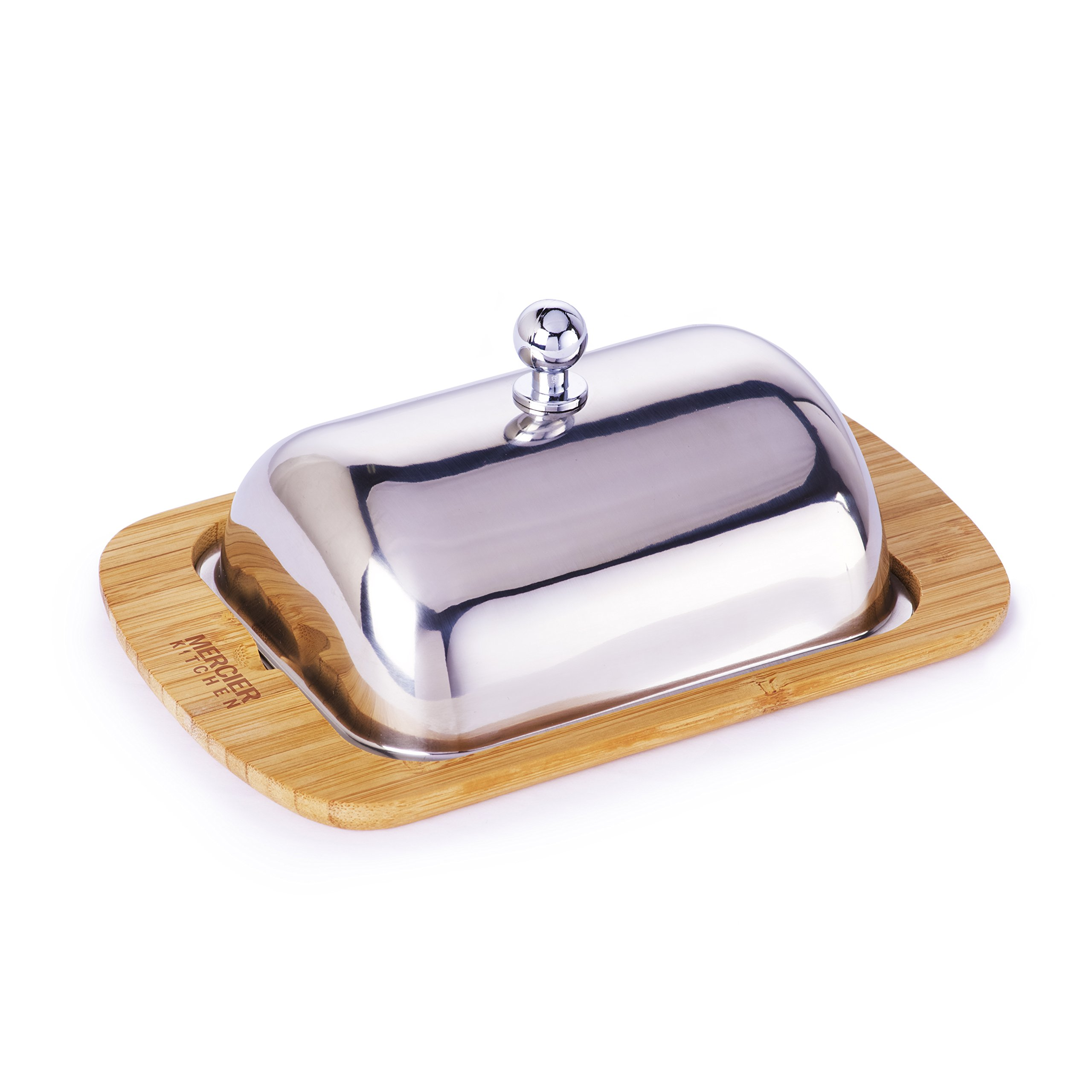Mercier Kitchen MERCIER Bamboo + Stainless Steel Butter Dish with Stainless Steel Lid