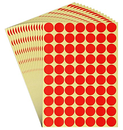 Dealzepic round red color dot stickers self adhesive peel and stick paper label