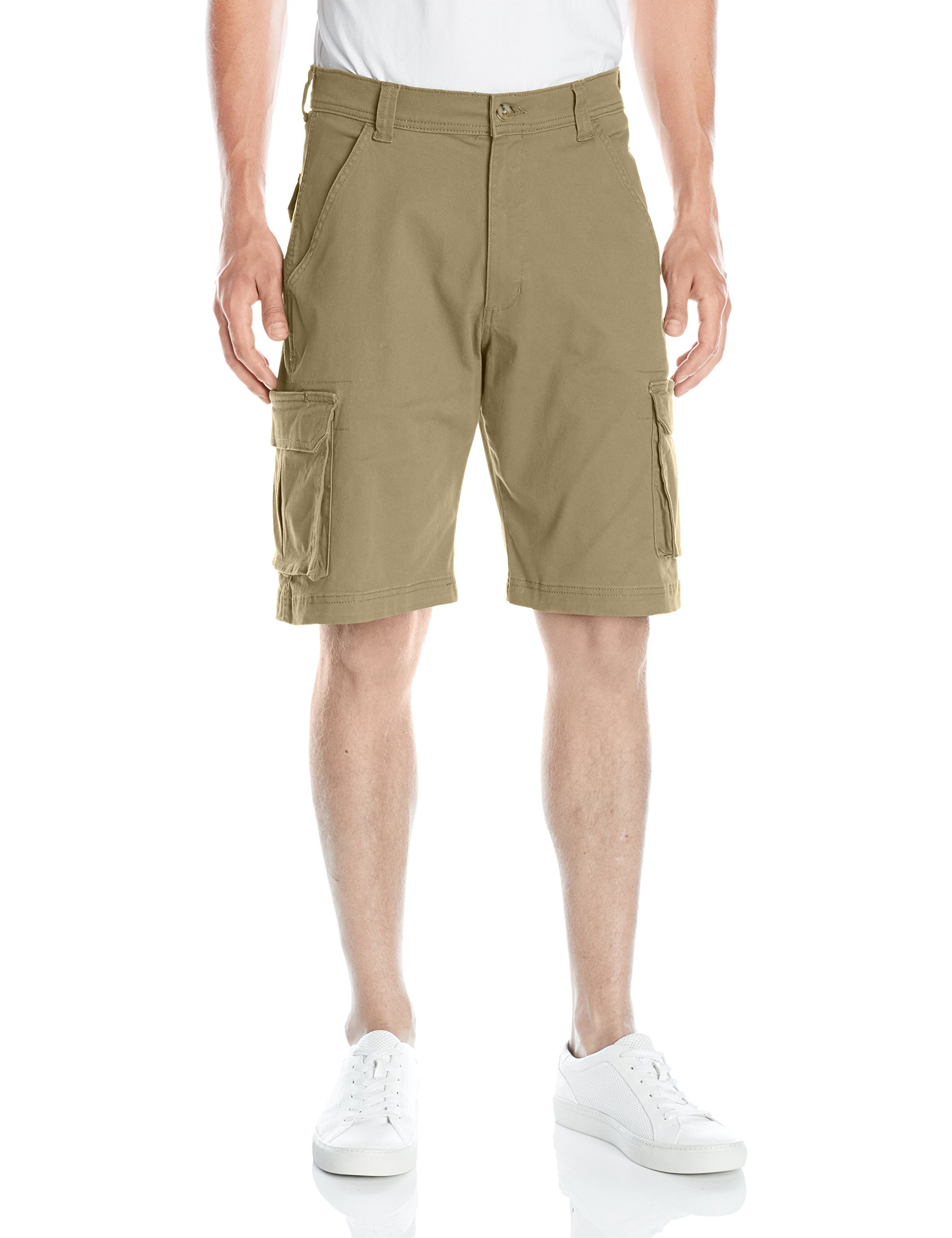 Wrangler Men's Genuine Advanced Comfort Tampa Cargo Short, Khaki, 36
