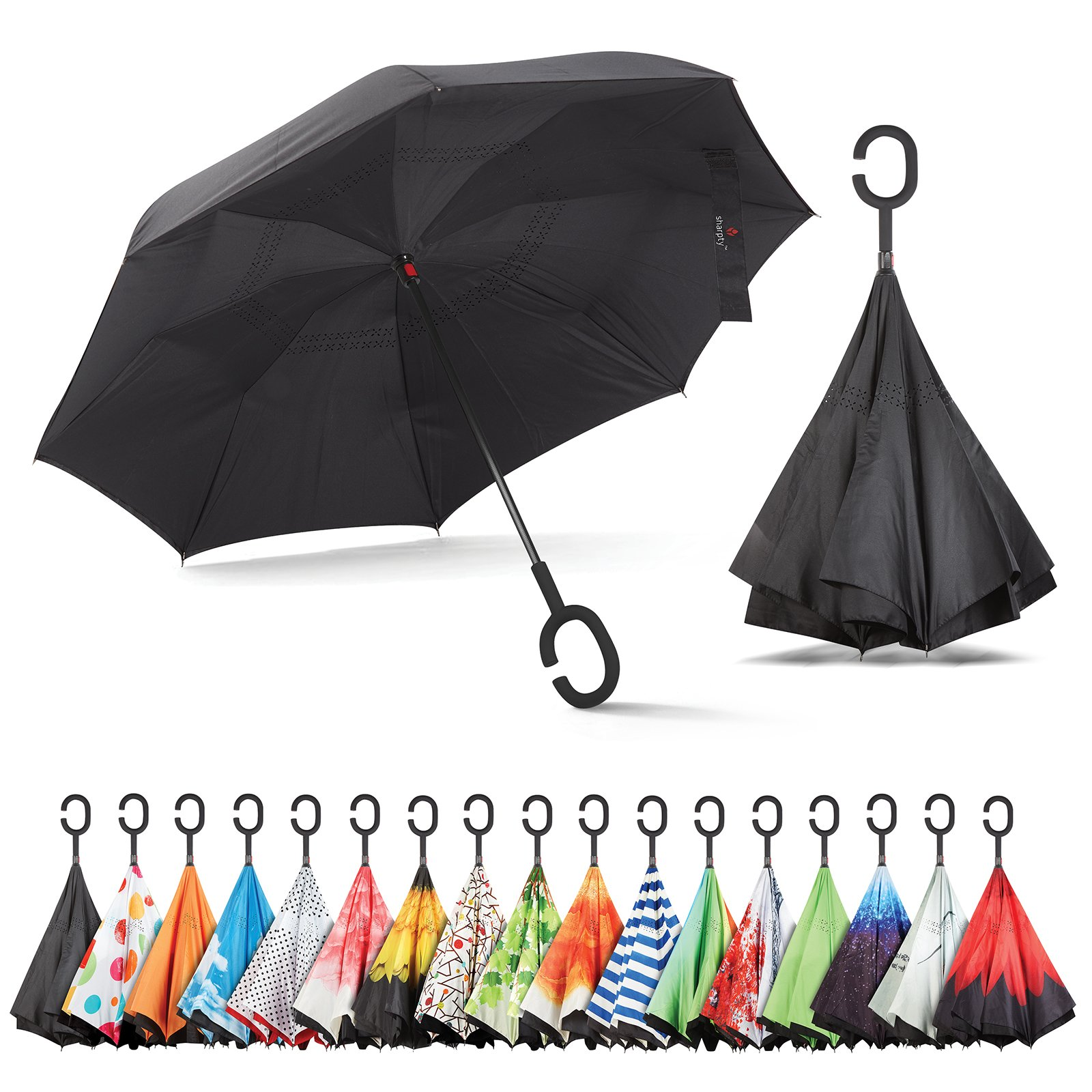 Sharpty Inverted Umbrella, Double Layer Windproof Umbrella, Reverse Umbrella, Umbrella with UV Protection, Upside Down Umbrella with C-Shaped Handle by Sharpty