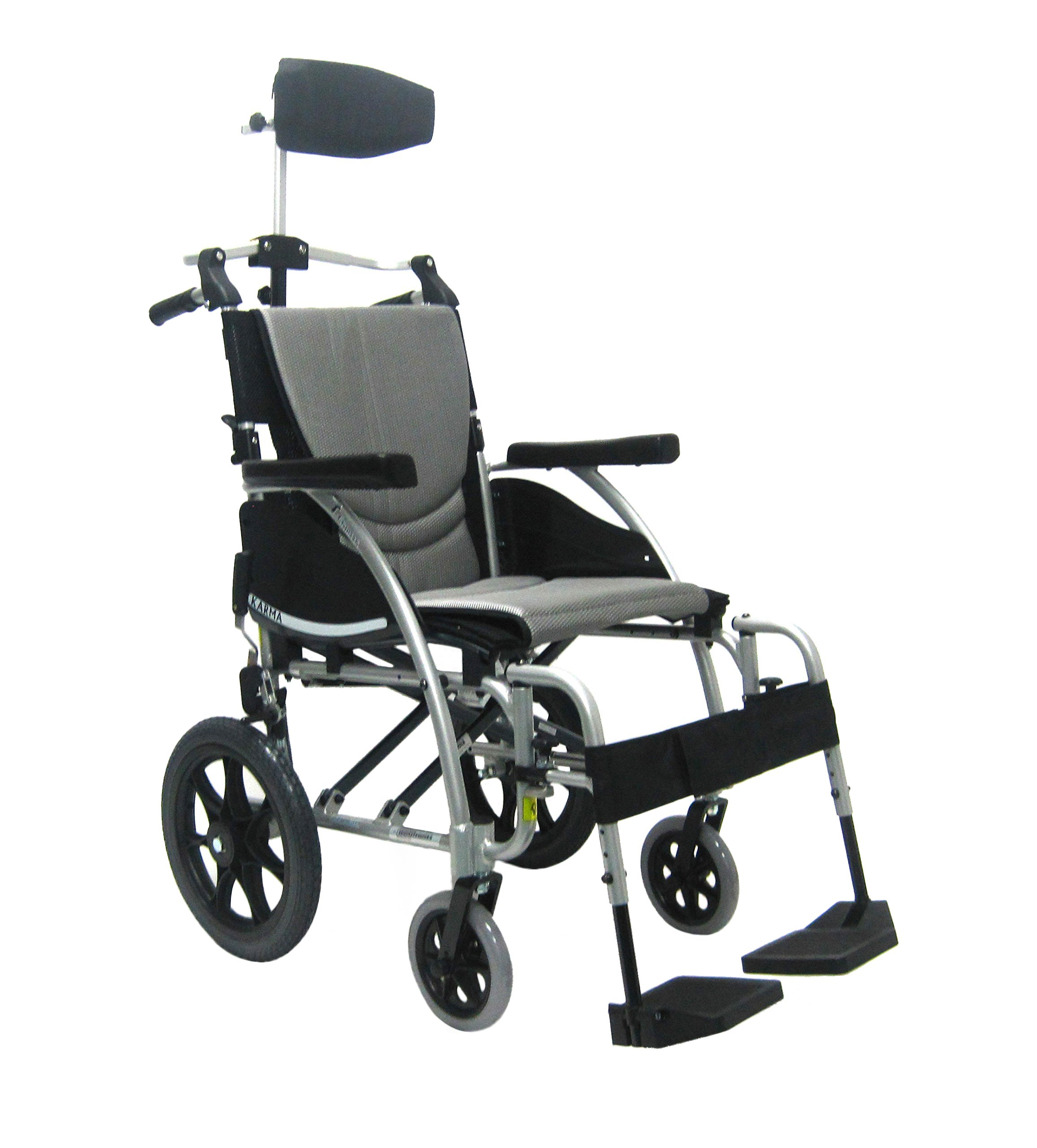 Karman Healthcare 22 Pounds S-115 Transport Silver with Headrest, Pearl Silver, 22 Pound