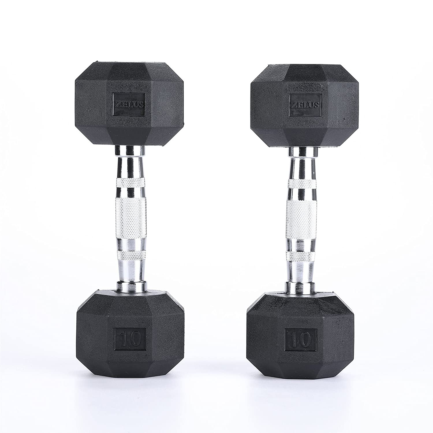 ZELUS Rubber Dumbbells Hand Weights Metal Handles Dumbbells Weights 3 5 8 10 12 15 20 25 30 35 40 45 50LBS Available