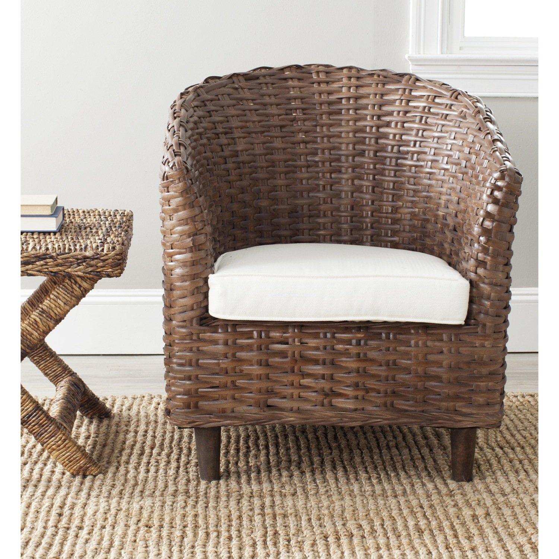 Amazon.com: Safavieh Home Collection Omni Brown Glaze Barrel Chair: Kitchen  U0026 Dining