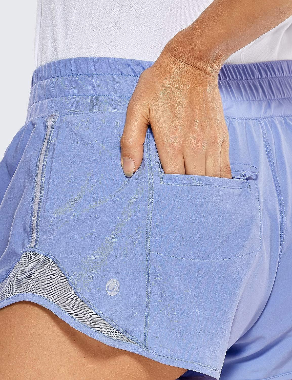 CRZ YOGA Damen Sport Shorts Kurze Hose Leicht Laufshorts mit Kordelzug und Innenslip-6cm
