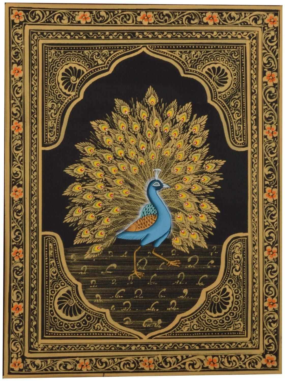 RMantra Handmade Miniature painting of Golden Feather Dancing Peacock on Silk Cloth/Wall Decor/Rajasthani Miniature Art