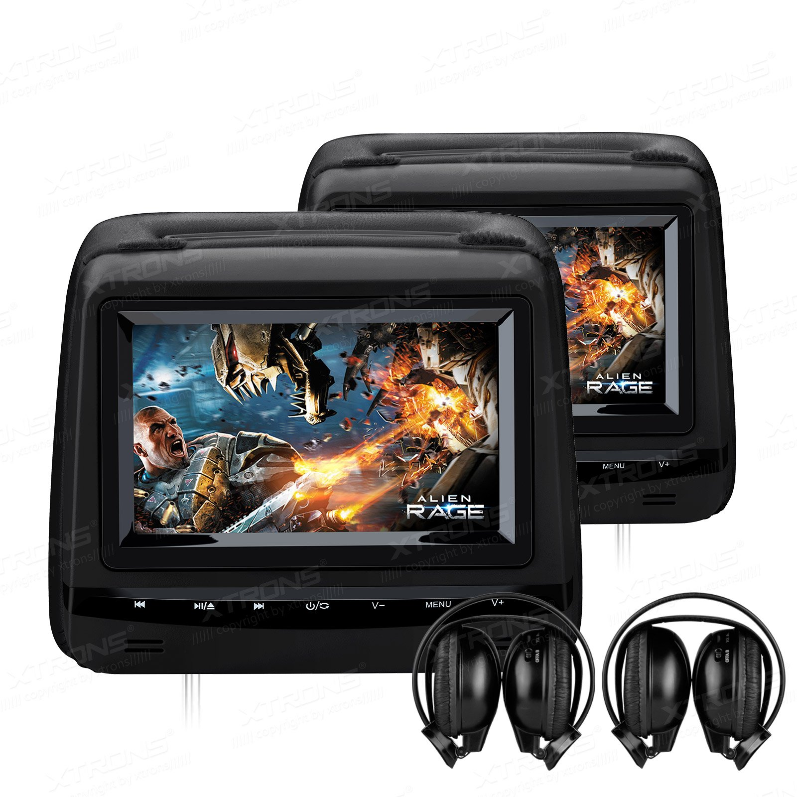XTRONS Black Twin 2x7'' Touch Panel HD Digital Screen Car Headrest DVD Player Monitor Adjustable Viewing Angles TV Game IR Headphones Included (HD729Black+DWH002x2)