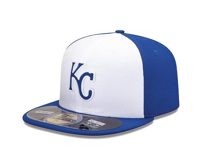 quality design b9691 ad4cb Amazon.com   MLB Kansas City Royals Batting Practice 59Fifty Baseball Cap,  White Royal   Sports   Outdoors