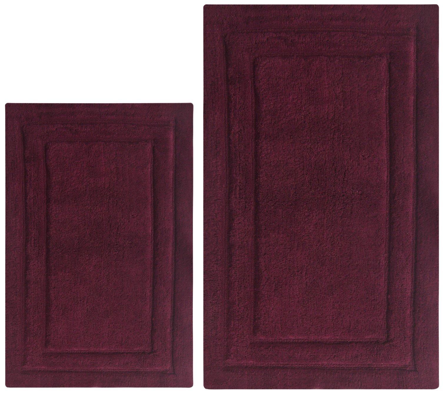 Chardin home 100% Cotton two Piece Classicc Bath Rug Set, (21''x34'' & 17''x24'') with anti-skid spray latex back, Burgundy