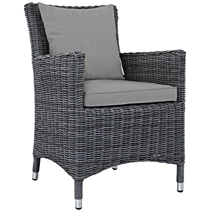 Groovy Amazon Com Modway Eei 1935 Gry Gry Summon Wicker Rattan Andrewgaddart Wooden Chair Designs For Living Room Andrewgaddartcom