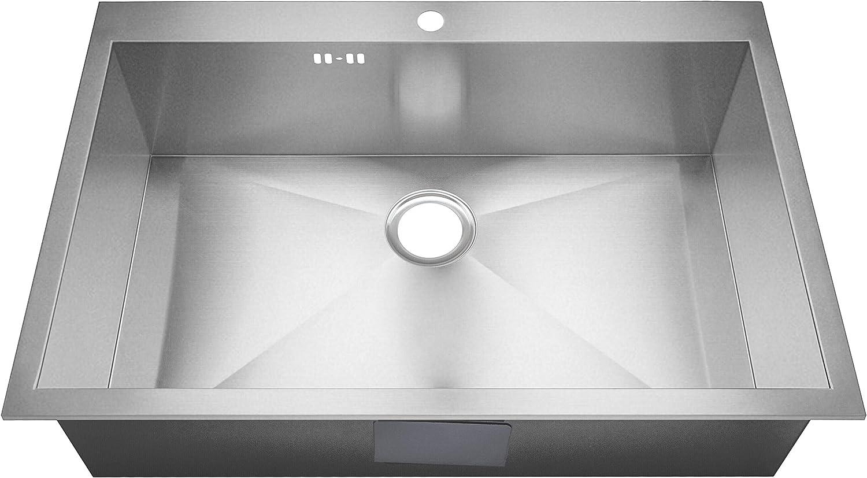 1/platillos hecho a mano nulo Radius cuadrada Brushed Acero Inoxidable fregadero cocina fregadero ds021
