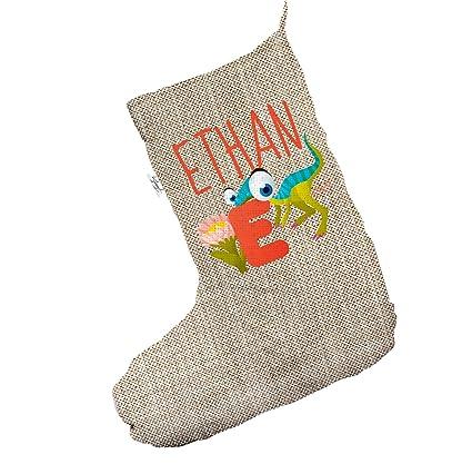 personalised baby dinosaur letter e jumbo hessian deluxe christmas stocking