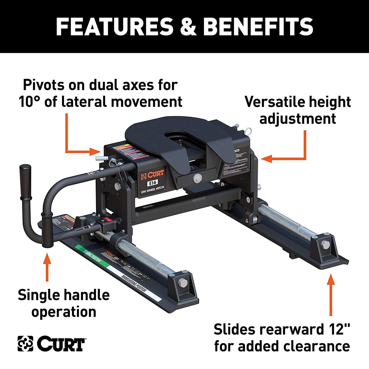 Curt Fifth Wheel Hitch >> Curt 16516 E16 5th Wheel Slider Hitch For Short Bed Trucks 16 000 Lbs