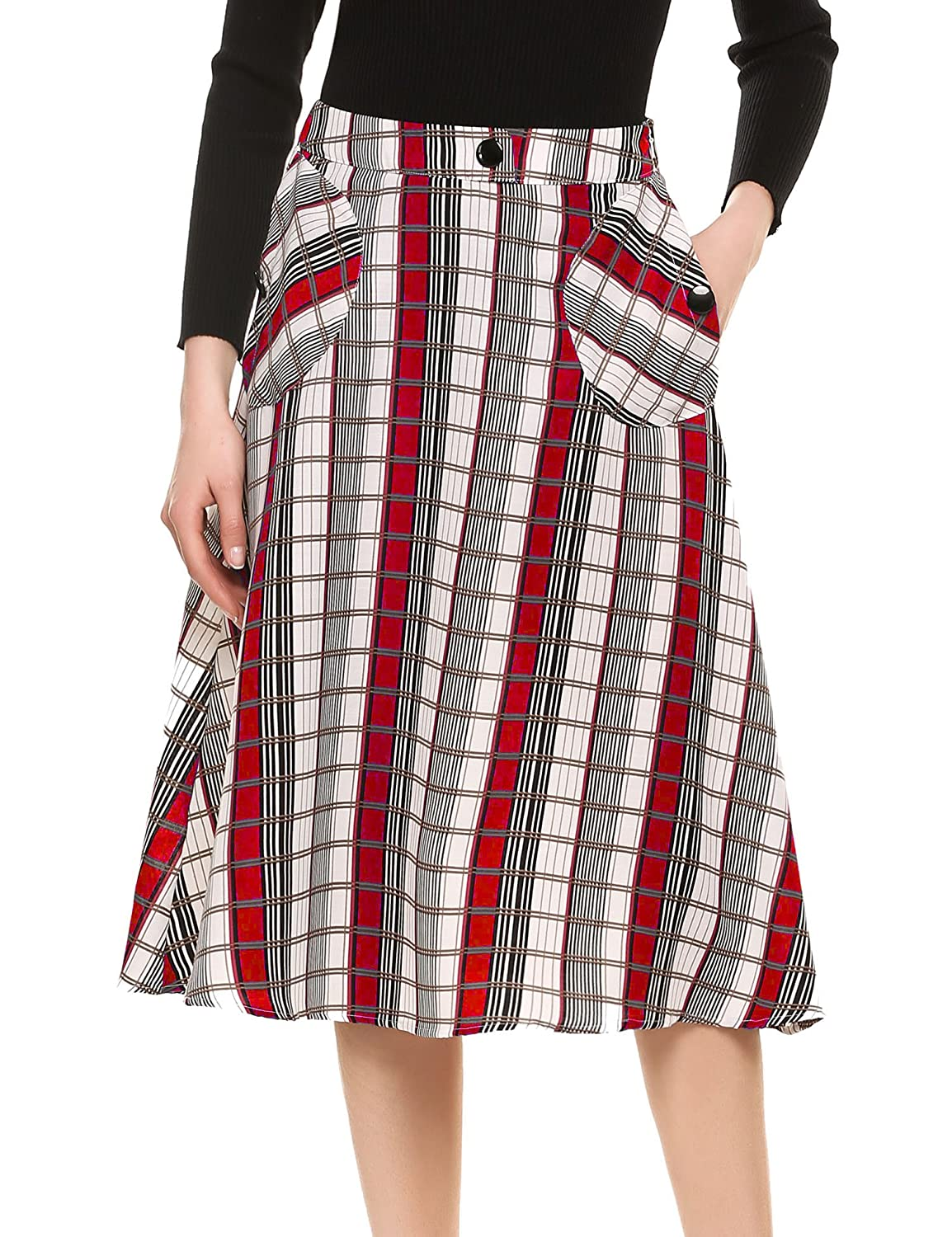 1960s Style Skirts Meaneor Women Elegant A-Line Skirts High Waist Plaid Skirts With Two Side Big Pockets $22.99 AT vintagedancer.com