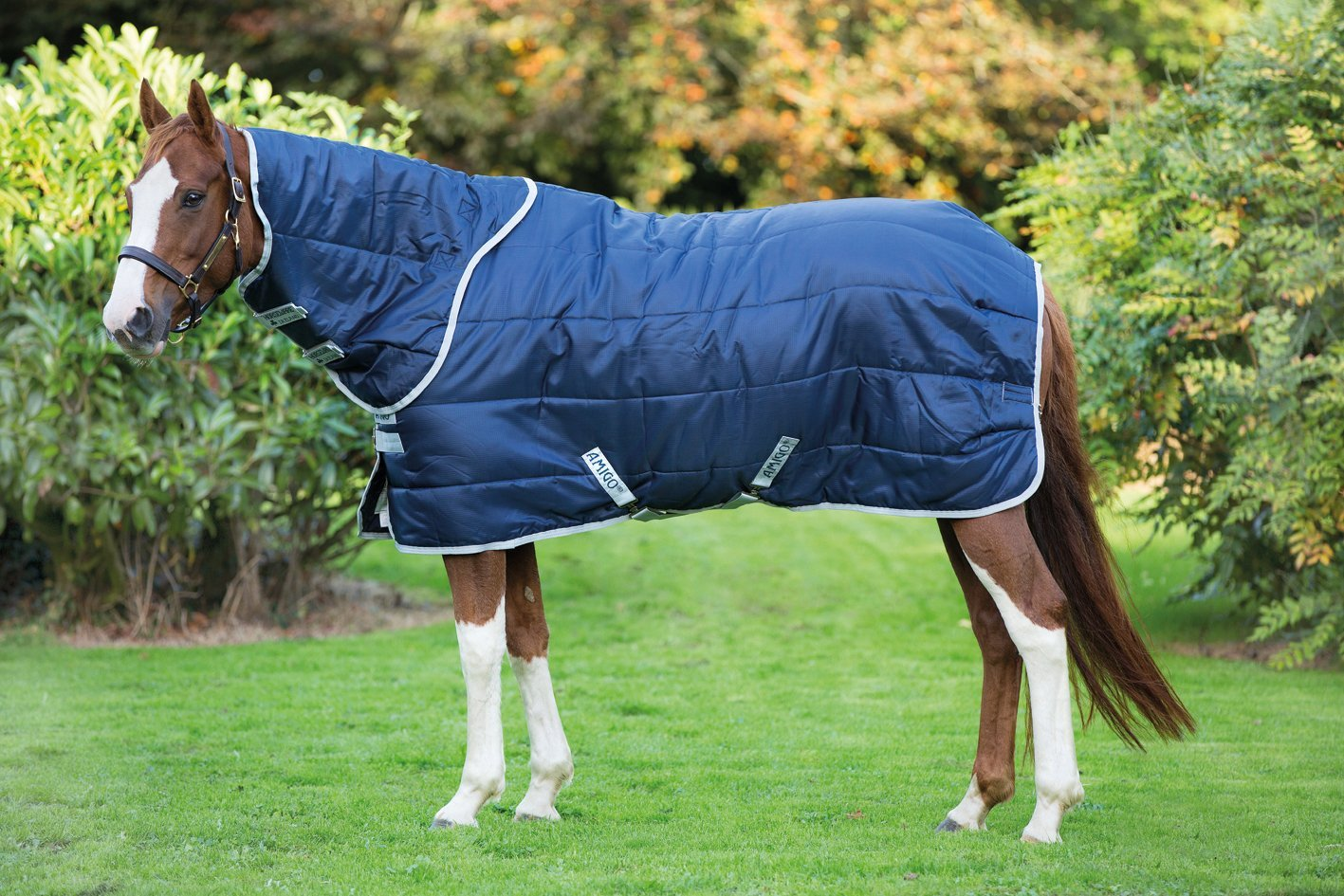 5ft6\ Horseware Amigo Insulator Combo Medium Stable Rug Navy Silver