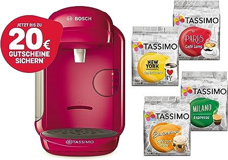 Bosch Tassimo Vivy 2 Cápsula eléctrica + 4 x T Discos de edición limitada heißgetr änke goteo Cafetera Eléctrica rosa: Amazon.es: Hogar