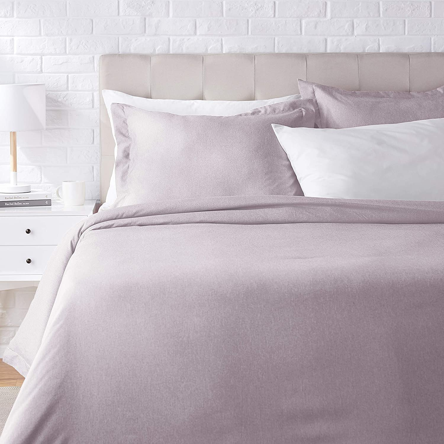 AmazonBasics Chambray Duvet Cover Bed Set - Full or Queen, Purple Dusk