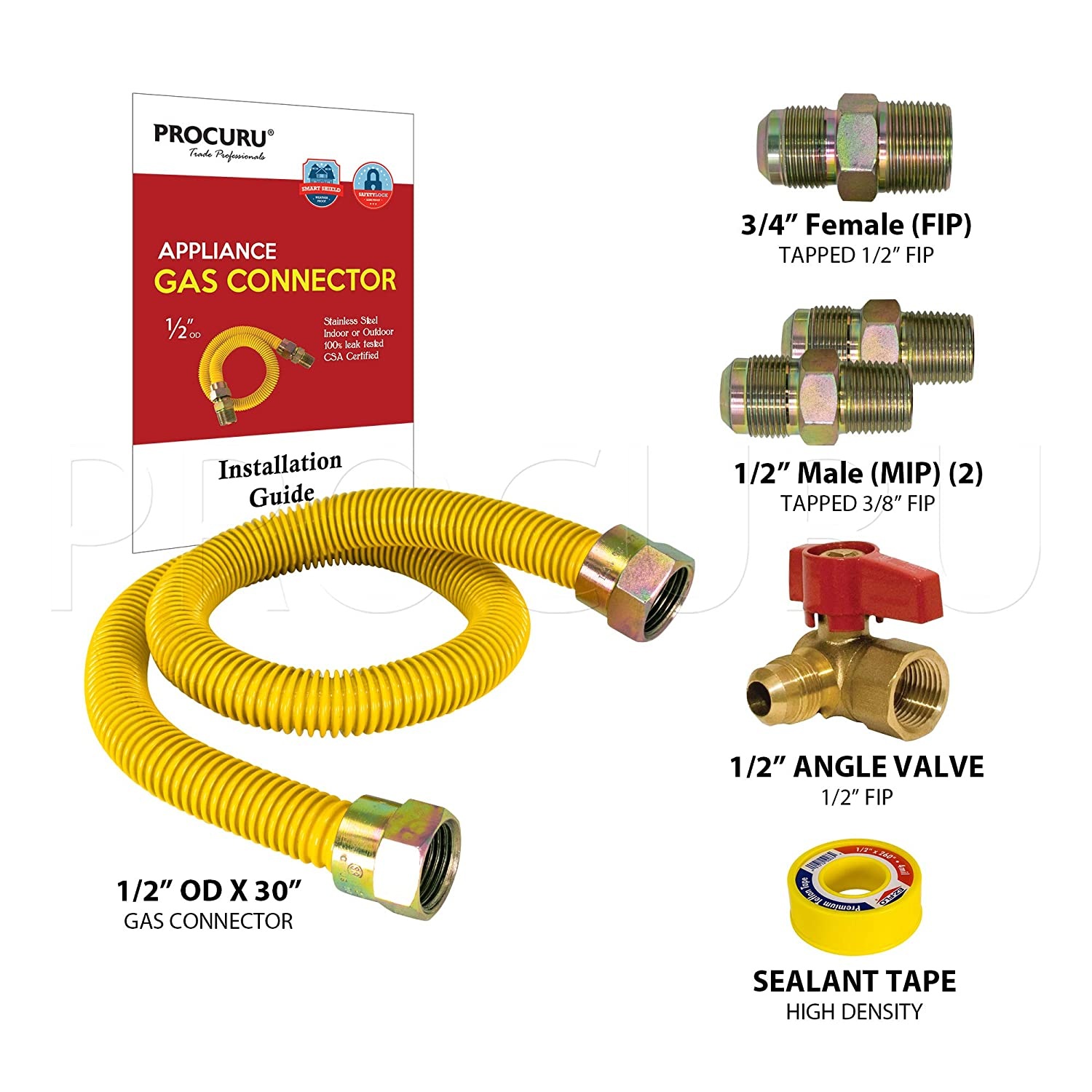 Water Heater WeatherProof Flexible Stainless Steel Tubing with SafeGuard Coating for Dryer PROCURU 72 x 1//2 OD Gas Flex Line Connector Kit with 1//2 Angle Valve