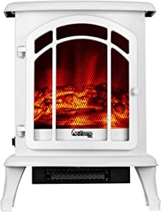 e-Flame USA Tahoe LED Portable Freestanding Electric Fireplace Stove - 3-D Log and Fire Effect (Winter White)