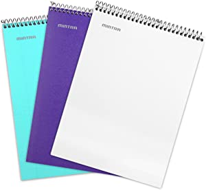 Mintra Office Top Bound Durable Spiral Notebooks - Strong Back, Left-Handed, 100 Sheets, Moisture Resistant Cover, School, Office, Business, Professional (Teal, Purple, White, College Ruled) 3 Pack