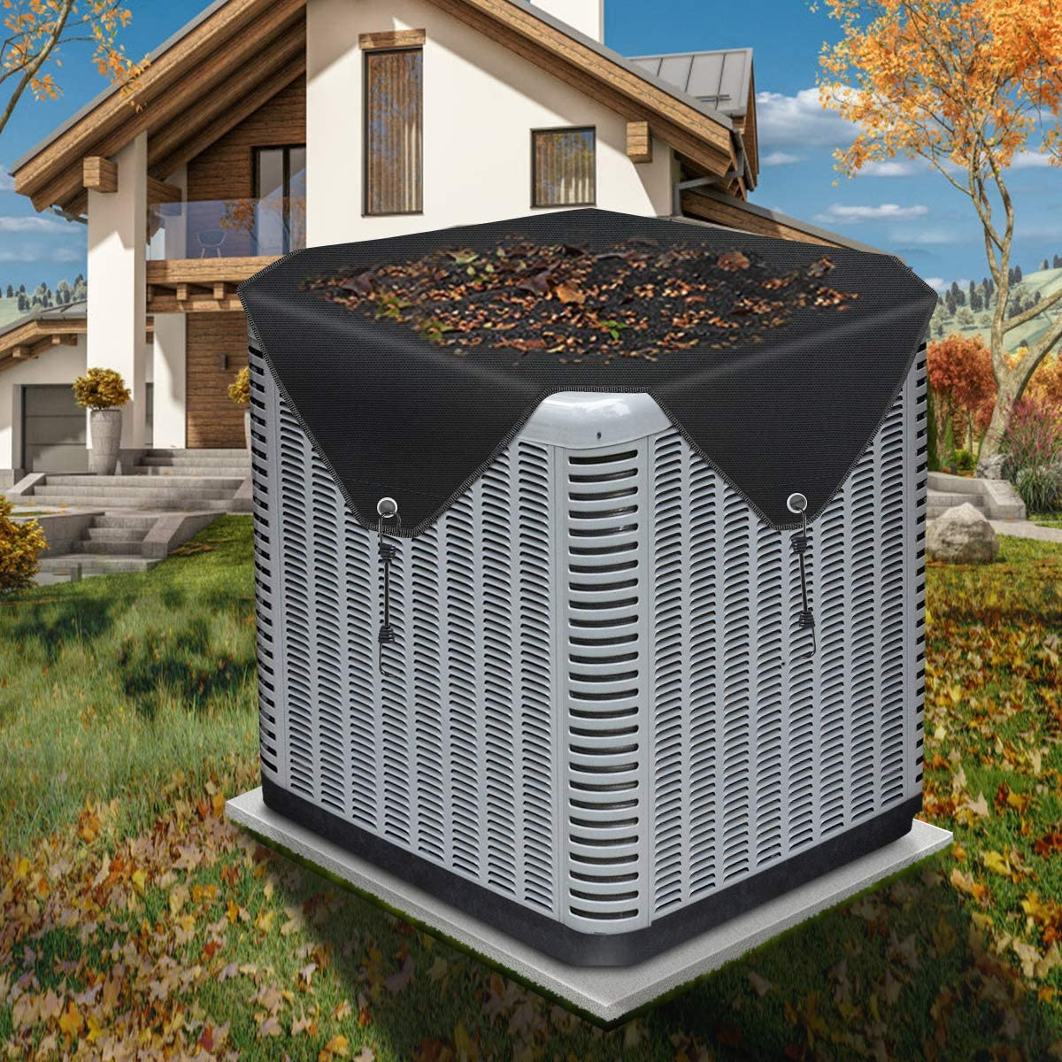 gulrear Air Conditioner Covers for Outside Units Top Square Ac Covers Outdoors Seal Black Central Air Conditioner Cover Universal Heavy Duty AC Defender with Bungee Hooks