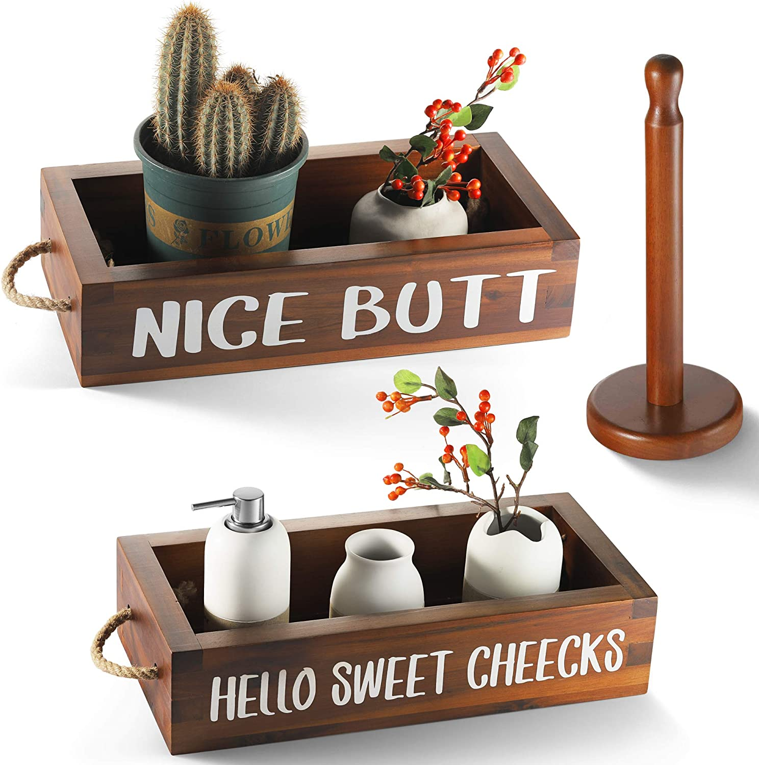 CABASAA Nice Butt Bathroom Decor Box, 2 Sided Funny Toilet Paper Holder, Farmhouse Rustic Wood Organizer, Funny Home Decor, Wooden Crate with Rope Handles(Brown)