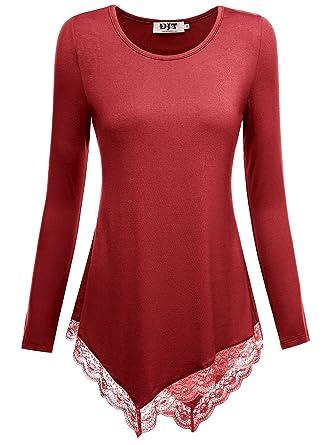85a22e1b5d5 Djt Femme Tunique Longue Col Rond Haut a Dentelle Lace T-Shirt Manches  Longues Rouge