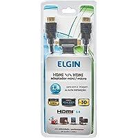 Cabo HDMI-HDMI com Conector Banhado a Ouro e Adaptador para miniHDMI e microHDMI de 1.8 Metros, Elgin