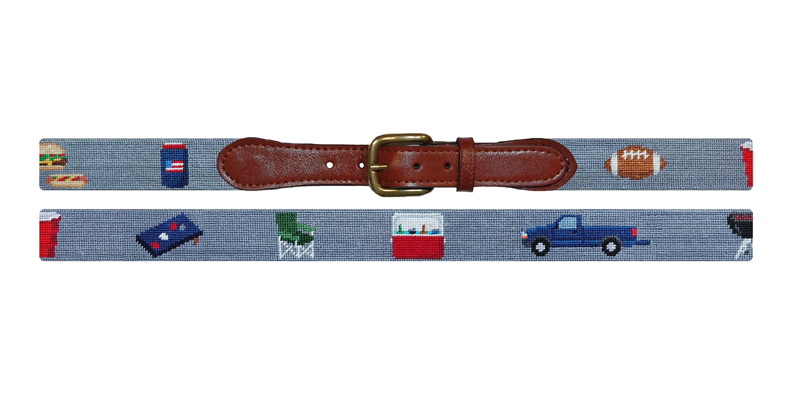 Smathers & Branson Tailgating Needlepoint Belt, Size 34 - Steel Grey (B-261-34) by Smathers & Branson (Image #1)