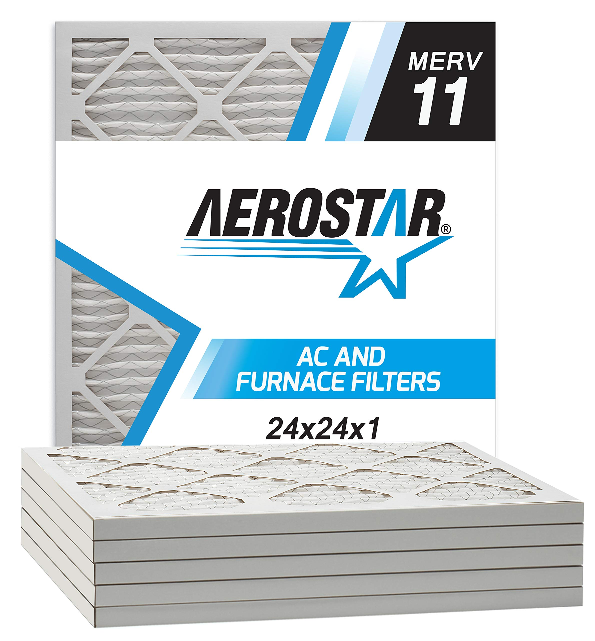 Aerostar Pleated Air Filter, MERV 11, 24x24x1, Pack of 6, Made in the USA by Aerostar