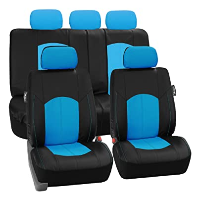 FH Group PU008BLUE115 Full Set Seat Cover (Perforated Leatherette Airbag Compatible and Split Bench Ready Blue): Automotive