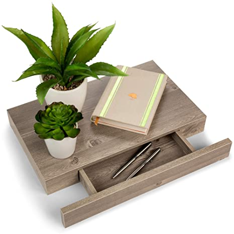 Amazon.com: Estantes flotantes con cajón y soporte, madera ...