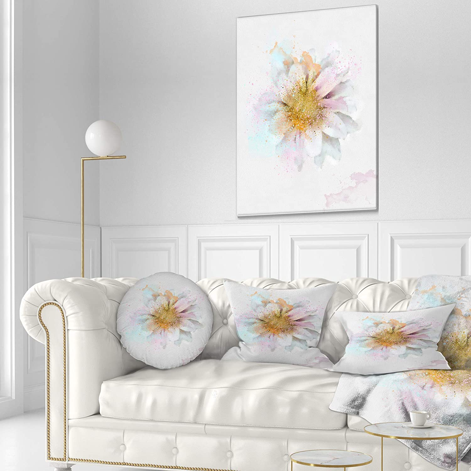 Throw Pillow Sofa Insert Printed On Both Side 16 Designart CU13732-16-16-C Beautiful Flower with Yellow Stigma Floral Round Cushion Cover for Living Room
