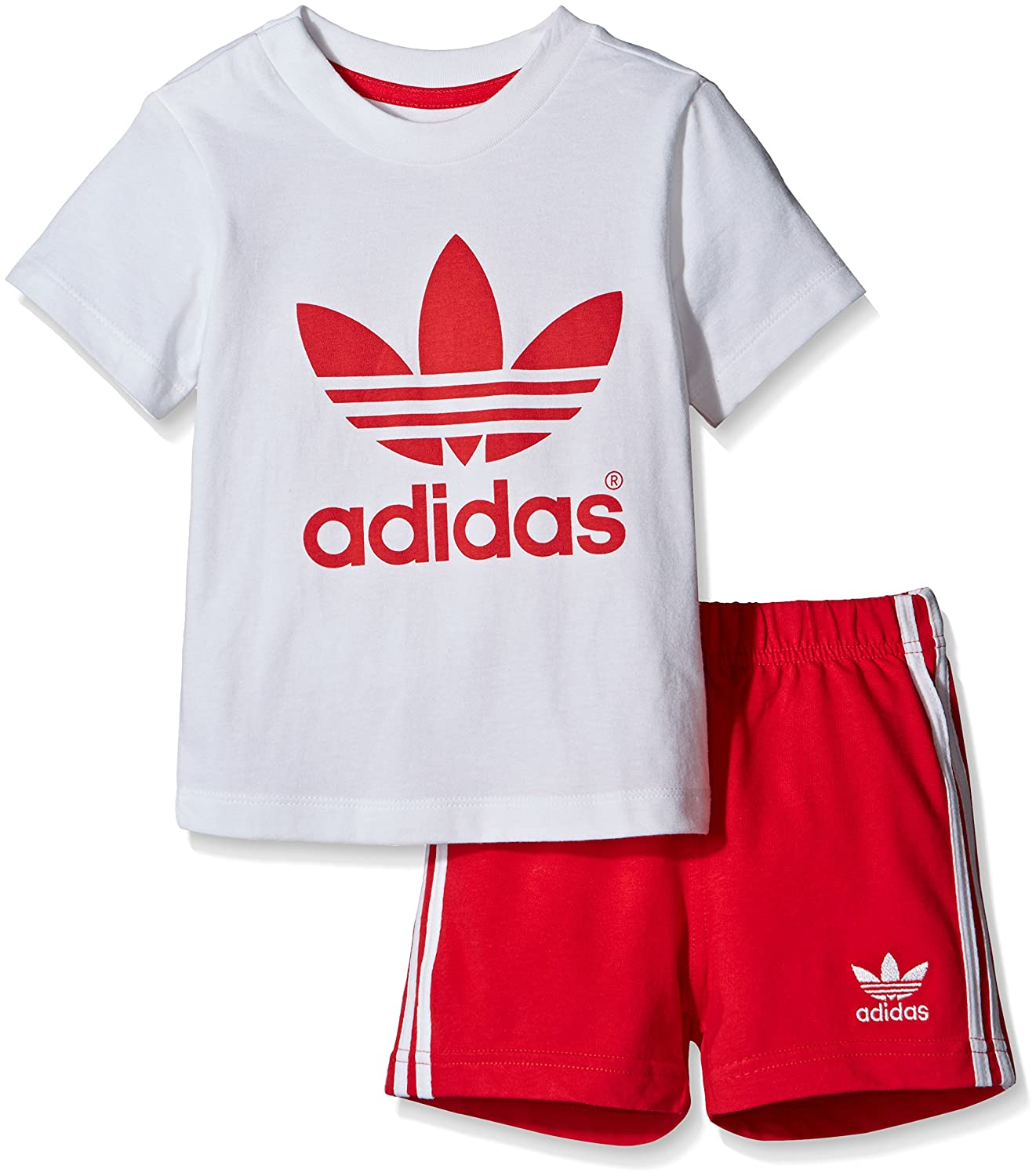 adidas Infant T-Shirt + Short Set Kleinkinder Kinder Anzüge & Bodies AO005