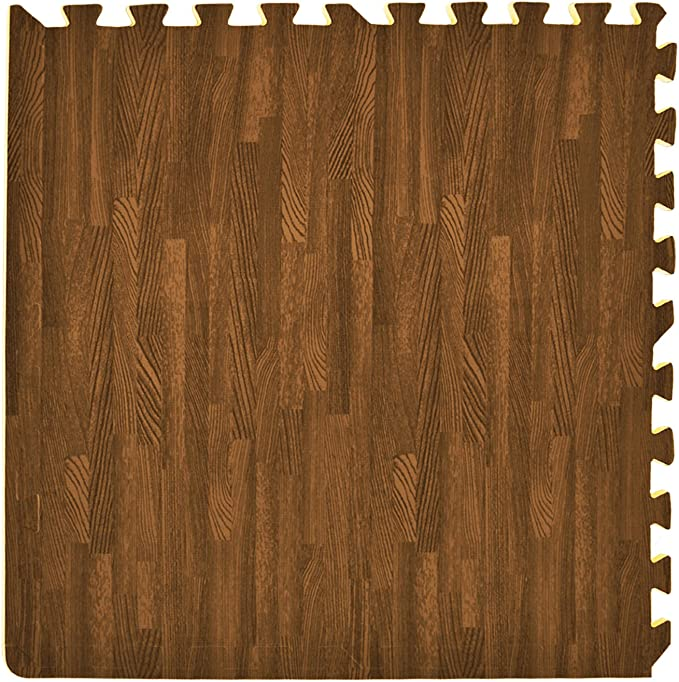HomeCube USA 3//8 Inch Thick Interlocking Wood Grain Foam Floor 24 in x 24 in