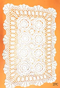 Damanni 2PC Rectangular Cotton Handmade Crochet Lace Table Runner Doilies Table Dresser Scarf Décor,16 Inch by 24 Inch,White