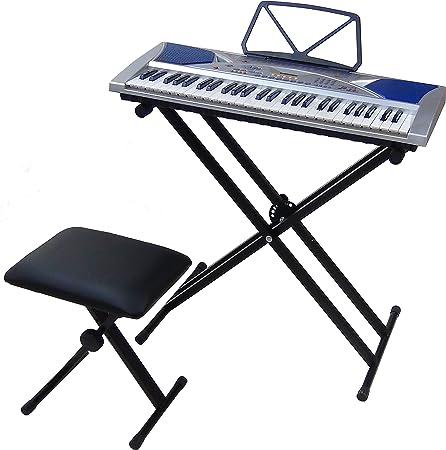 Teclado 54 teclas DynaSun MK2054 LCD Keyboard E-Piano Electronico Digital, Función de enseñanza inteligente con Banco y Stand Soporte