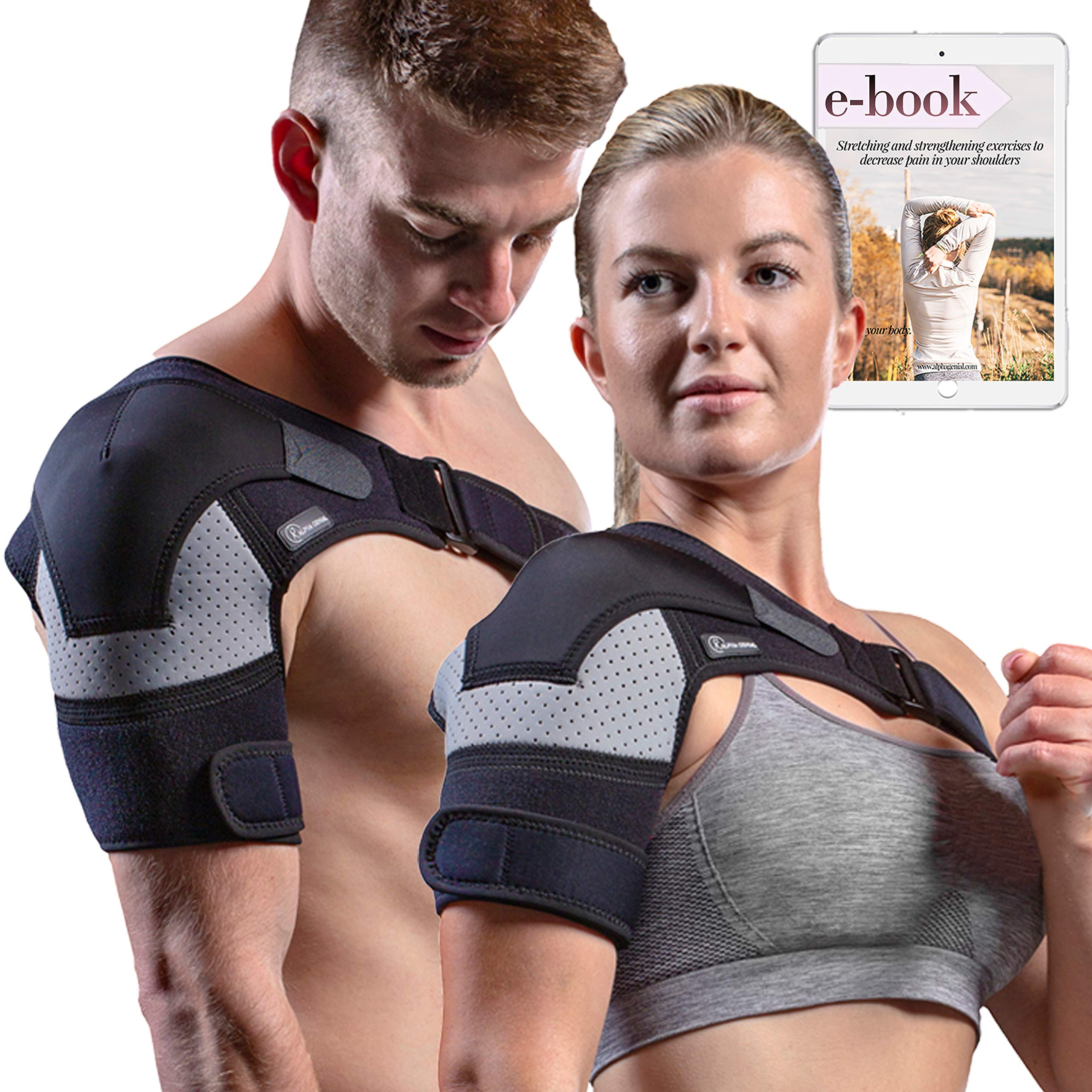 Shoulder Brace - Compression Sleeve for Rotator Cuff Pain Relief, Adjustable Support for Men and Women, Pressure Pad for hot or ice Pack for Shoulder Impingement Syndrome, Tendonitis, Arthritis... by Alpha Genial