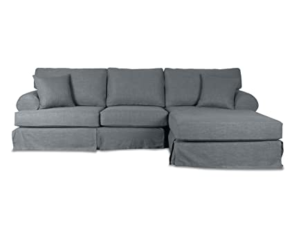 South Cone Home New York Linen Right Sectional Sofa, Grey