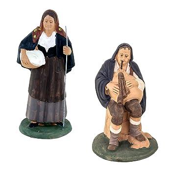 Figuras Belén, figuras de terracota decoradas a mano, Belén De Cerámica De Caltagirone: Amazon.es: Hogar