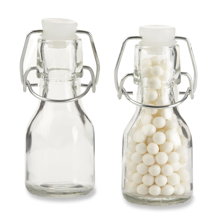 Amazon.com : Kate Aspen Set of 12 Mini Glass Favor Bottle with Swing ...