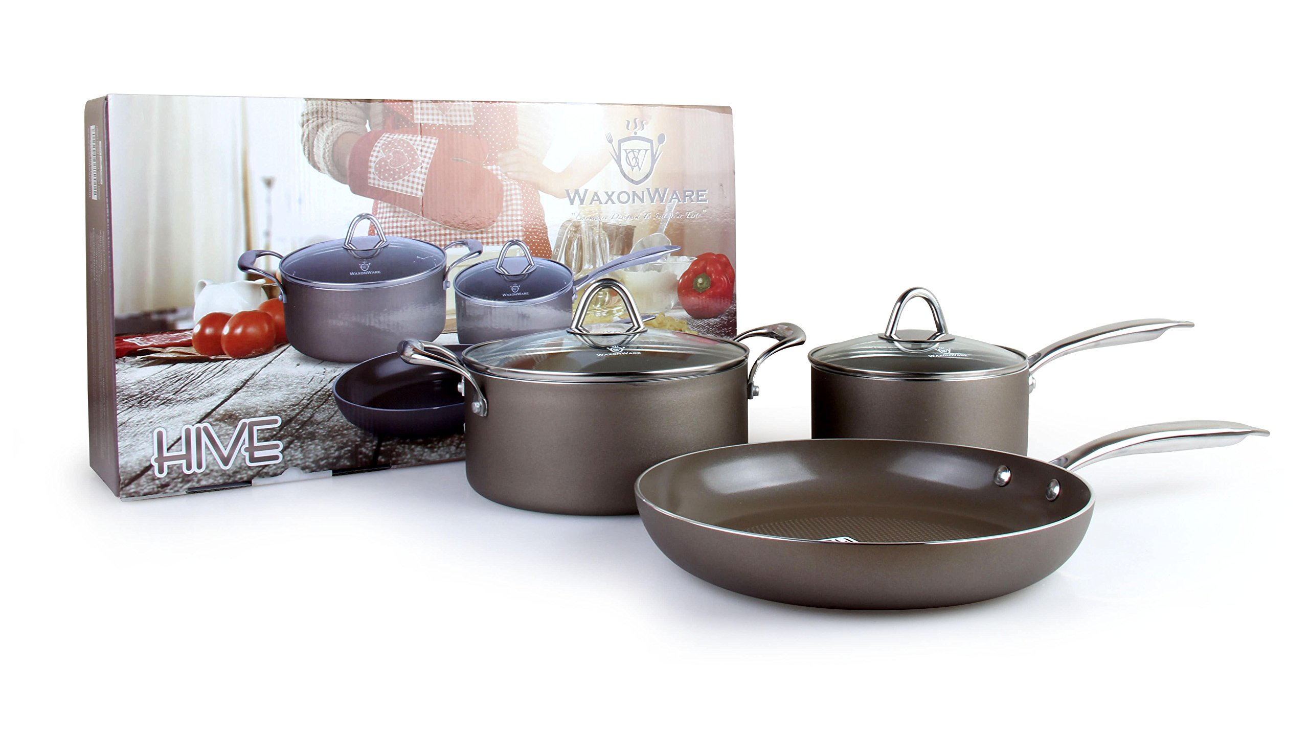 WaxonWare Hive Nonstick Cookware Set 5 PCS Pots and Pans Set (Frying Pan, Saucepan, Dutch Oven) - PTFE, PFOA and APEO Free Plus Induction & Oven Safe by WaxonWare (Image #7)