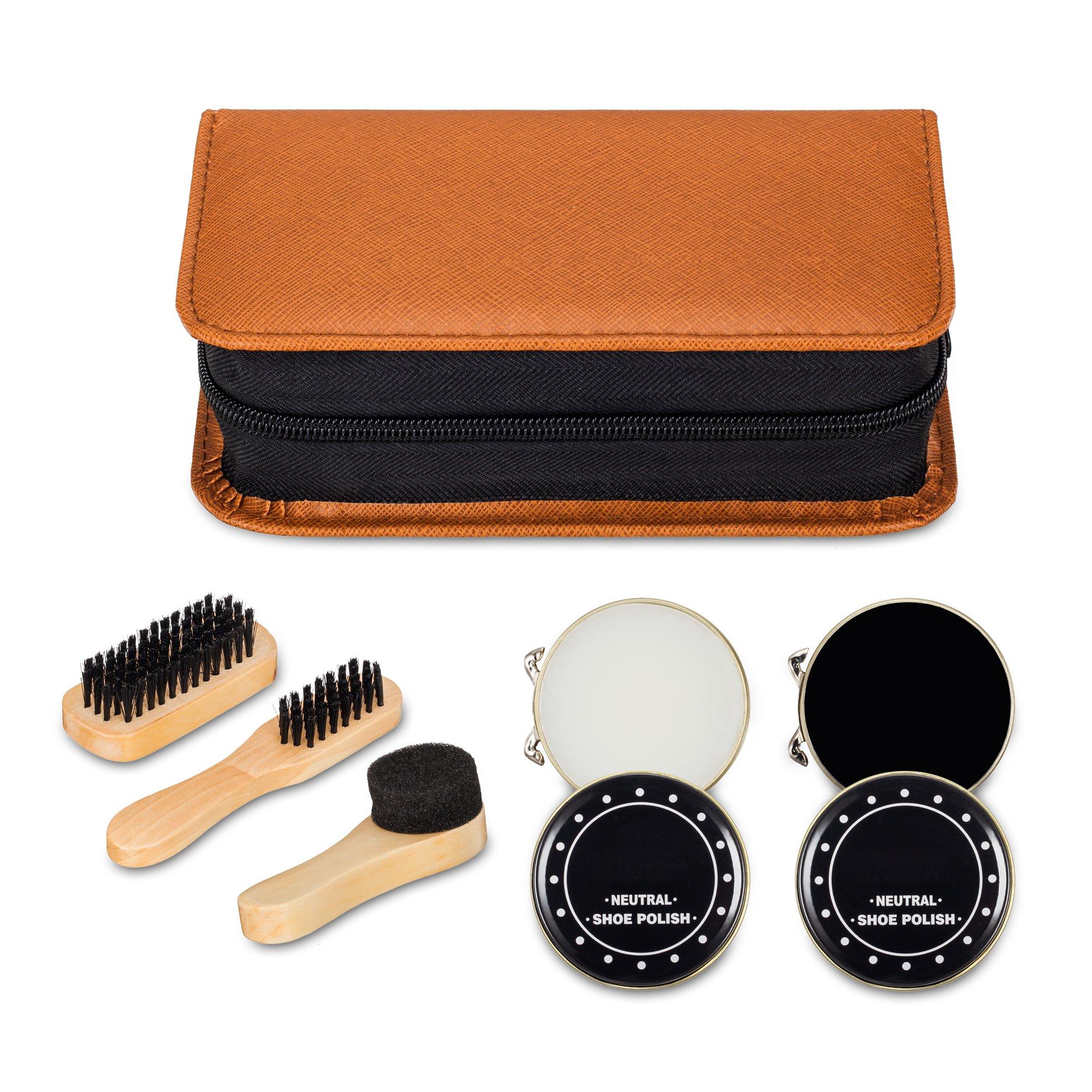 Shoe Shine Kit with PU Leather Sleek Elegant Case, 7-Piece Travel Shoe Shine Brush kit by make it funwan (Image #4)