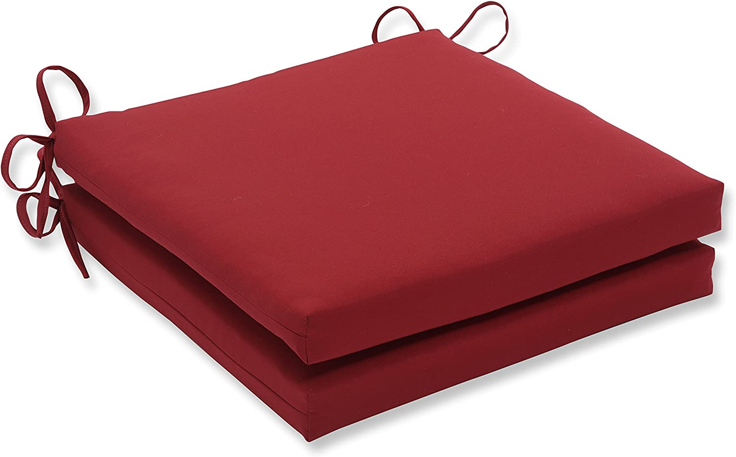 Pillow Perfect Outdoor/Indoor Pompeii Red Squared Corners Seat Cushion 20x20x3 (Set of 2)