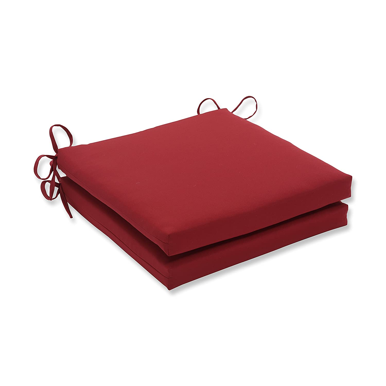 Pillow Perfect Outdoor Indoor Pompeii Red Squared Corners Seat Cushion 20x20x3 Set of 2